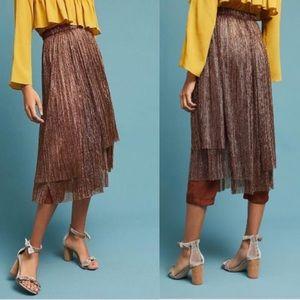 Anthropologie Bronze Maeve Metallic Pants Skirt